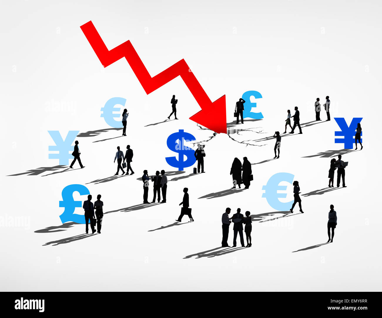 Finance Market Crush and world Currencies Recession - Stock Image