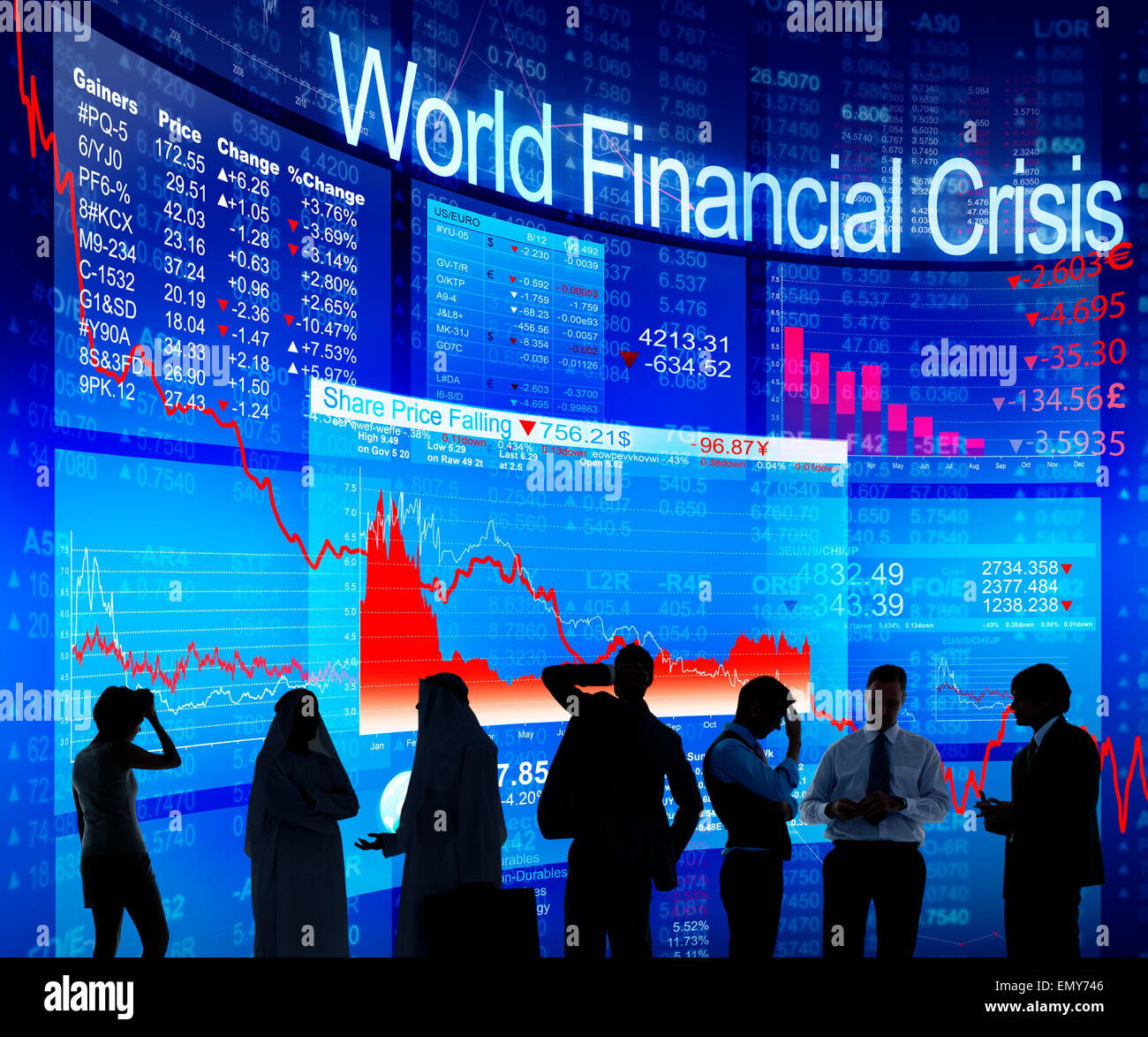 Business People Discussing About World Financial Crisis - Stock Image