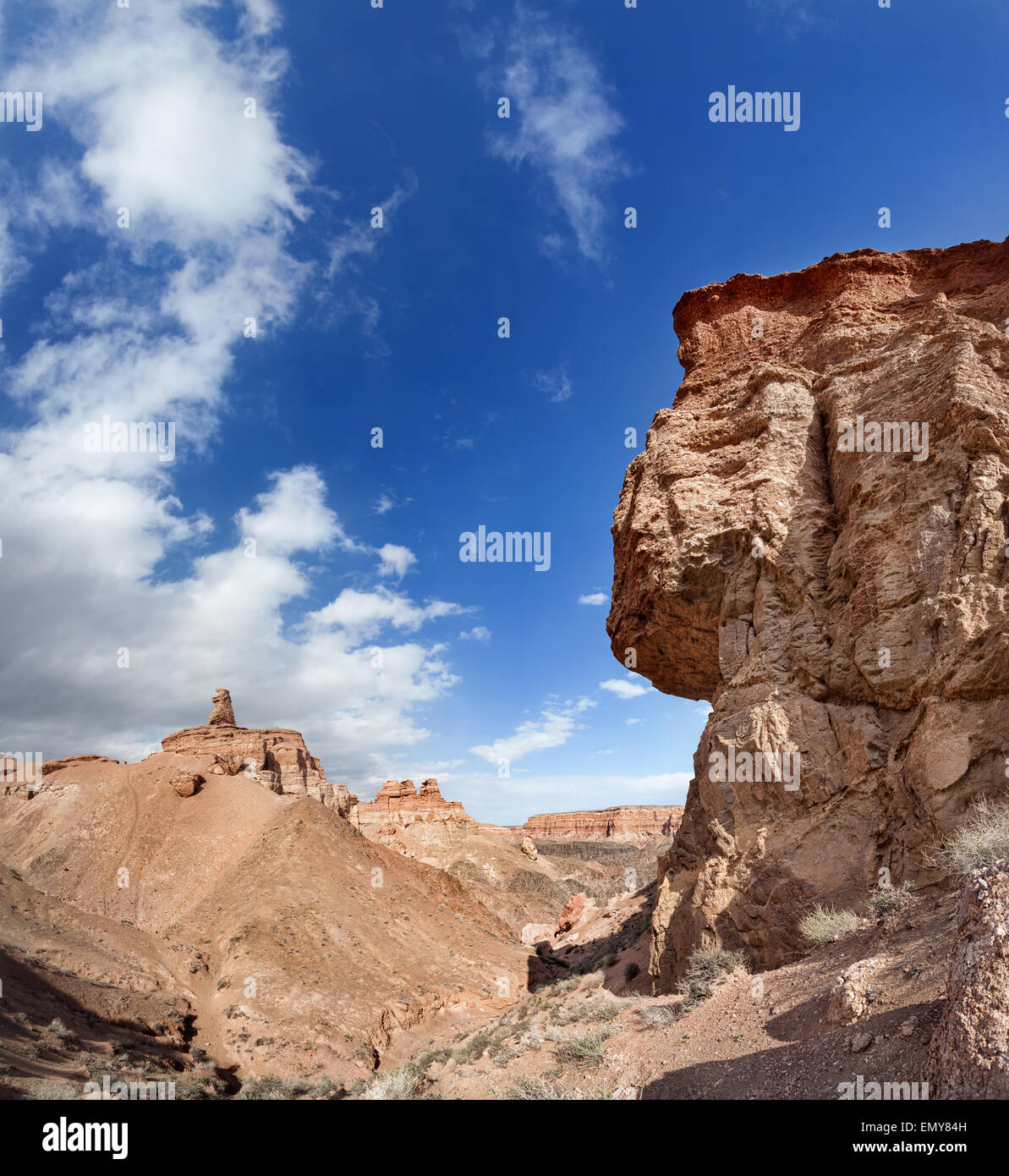 Charyn grand canyon at blue sky in Kazakhstan Stock Photo