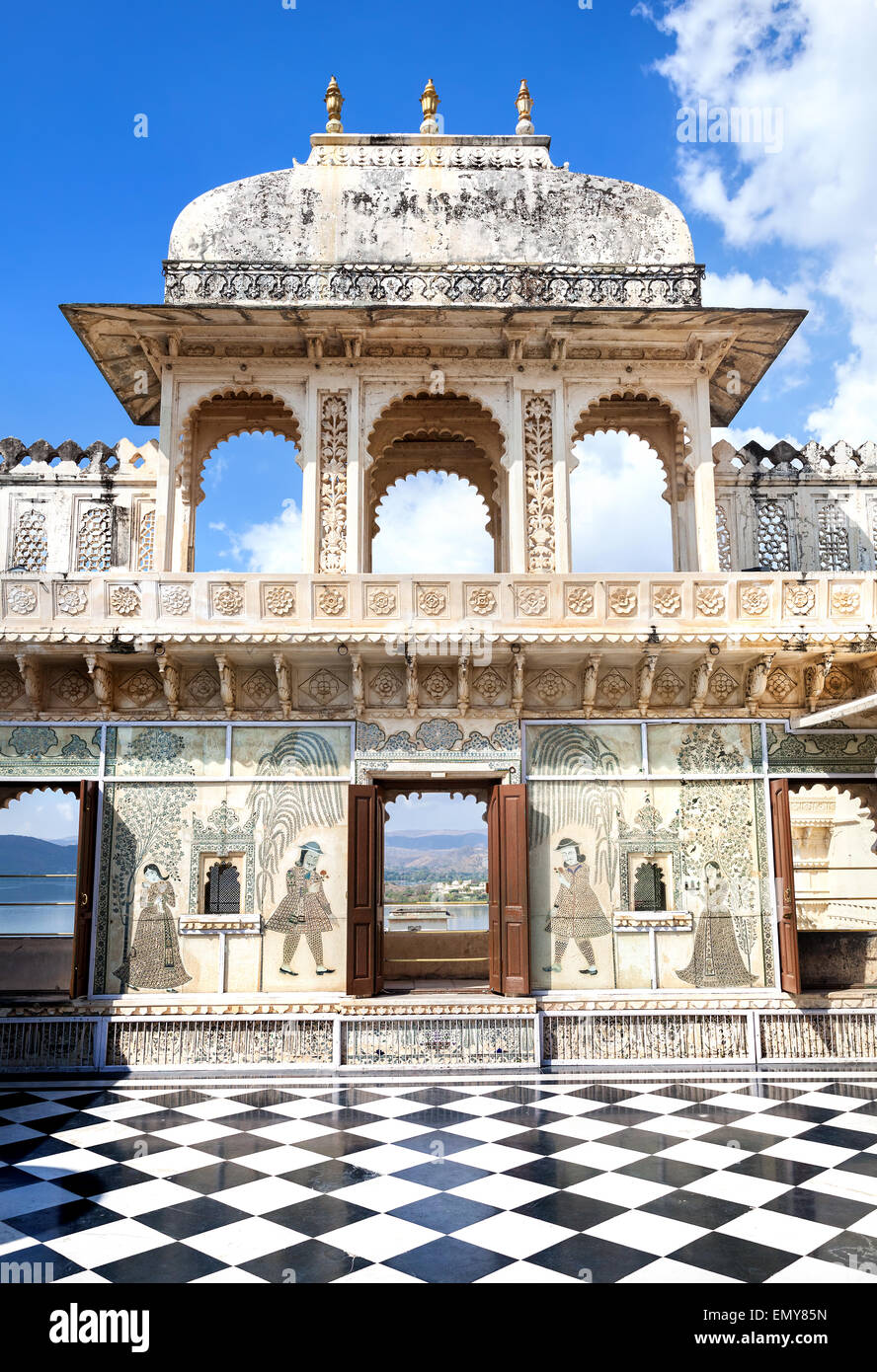 City Palace museum with surreal chess floor in Udaipur, Rajasthan, India - Stock Image