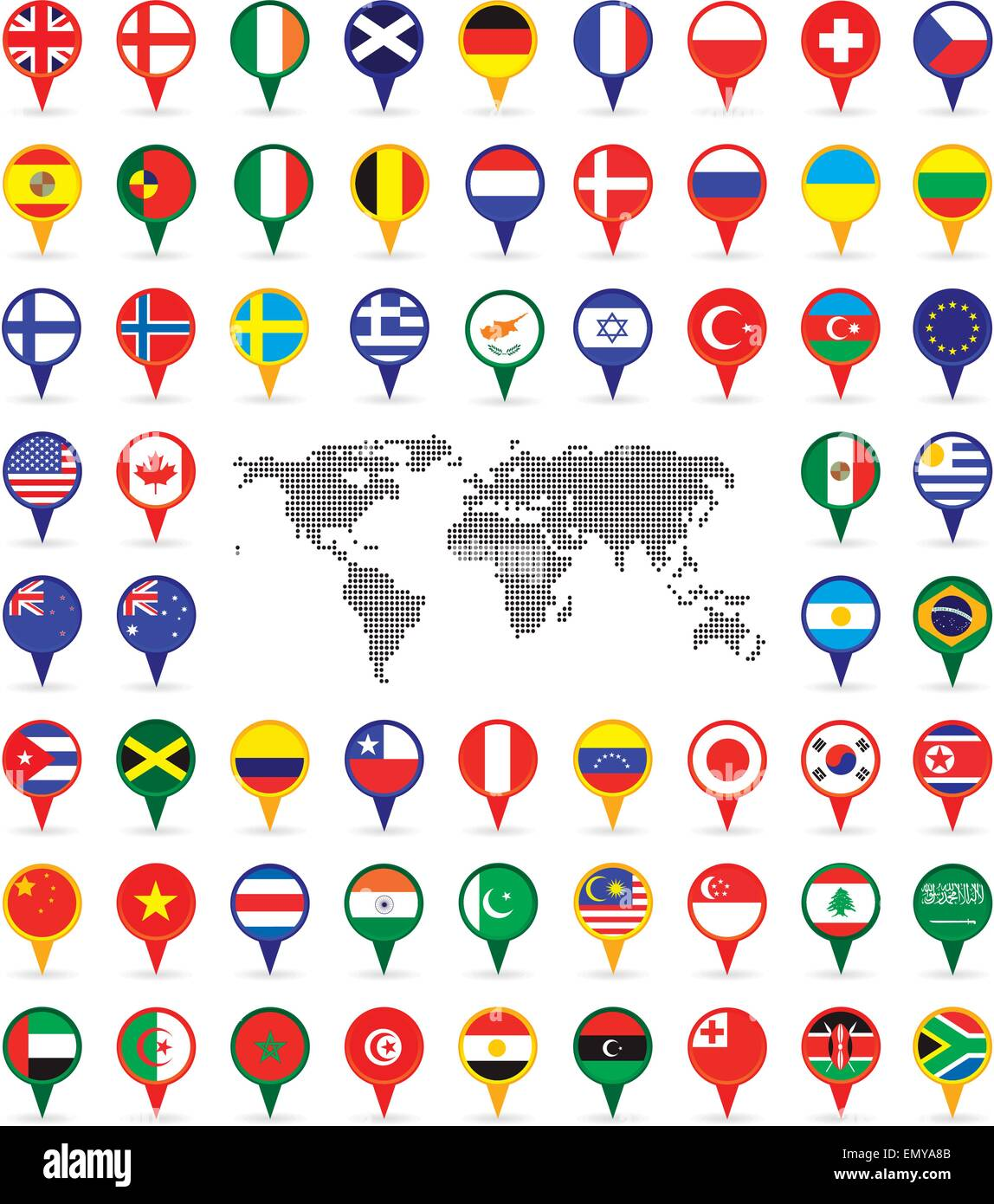 Map Of World Flags.World Flags On Map Pins Stock Vector Art Illustration Vector