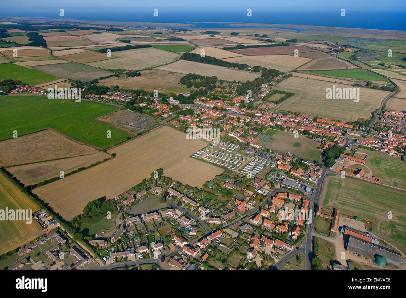 An aerial view Wells-next-the-Sea a port on the North Norfolk coast of England.summer - Stock Image