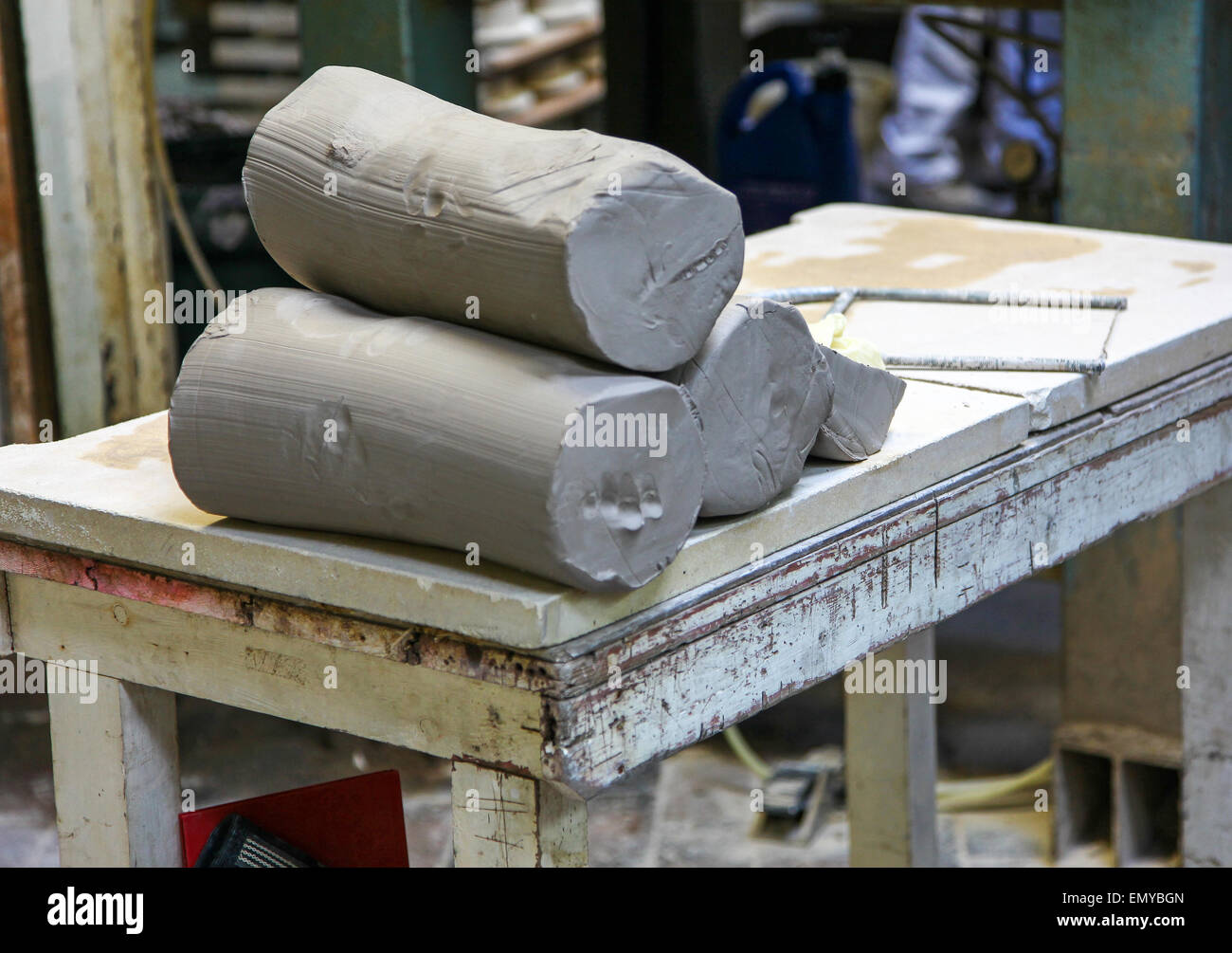 Rolls of clay at the Burleigh Middleport pottery factory Stoke-on-Trent North Staffordshire England UK - Stock Image