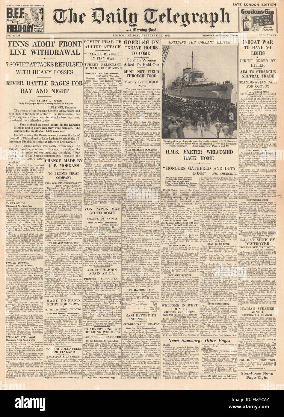 1940 front page Daily Telegraph Finnish withdrawal from front line HMS Exeter arrives in Plymouth on her return from action Stock Photo