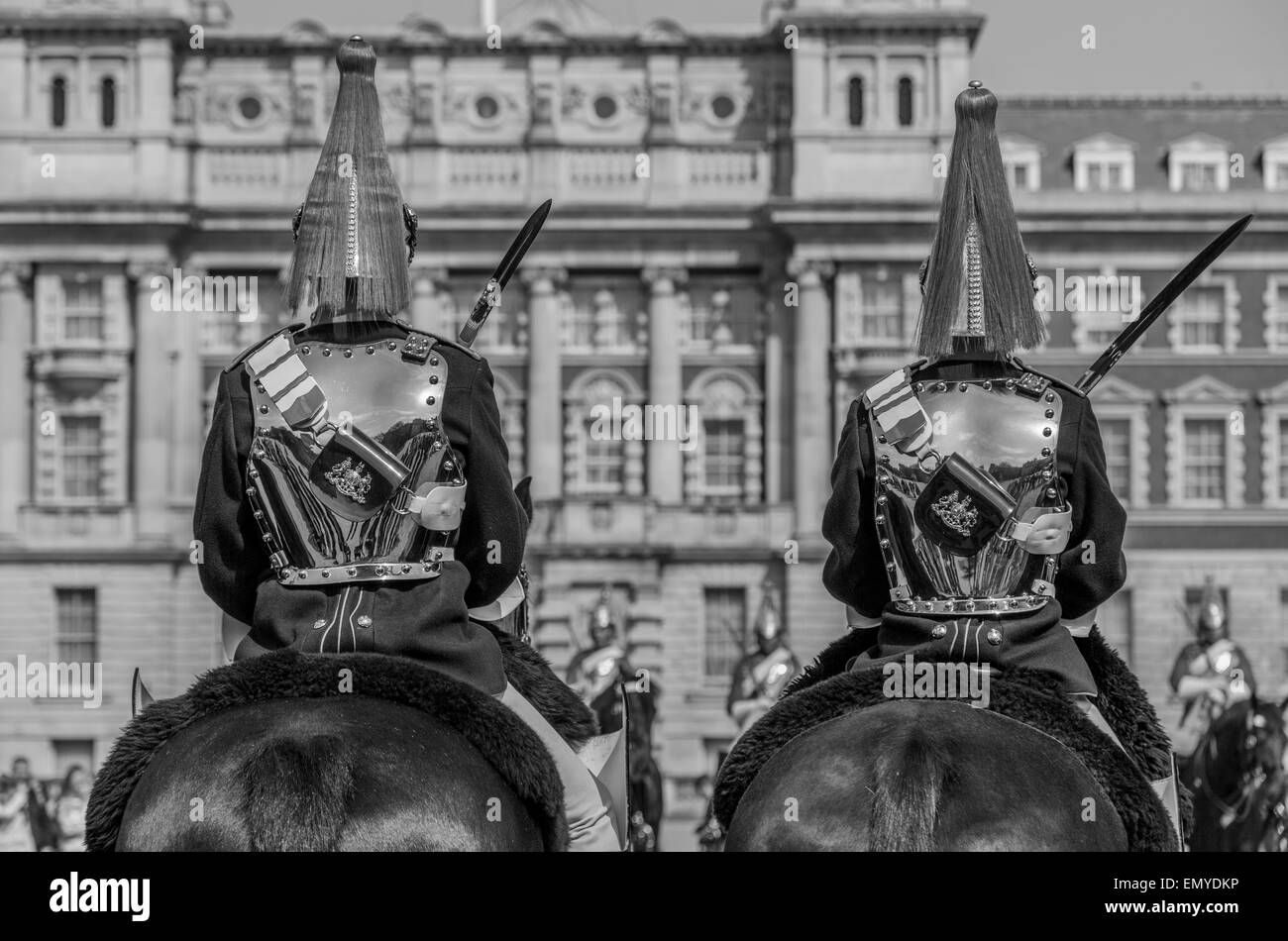 A sepia tone portrait of The Blues and Royals Household Cavalry Horse Guards Parade London England UK - Stock Image