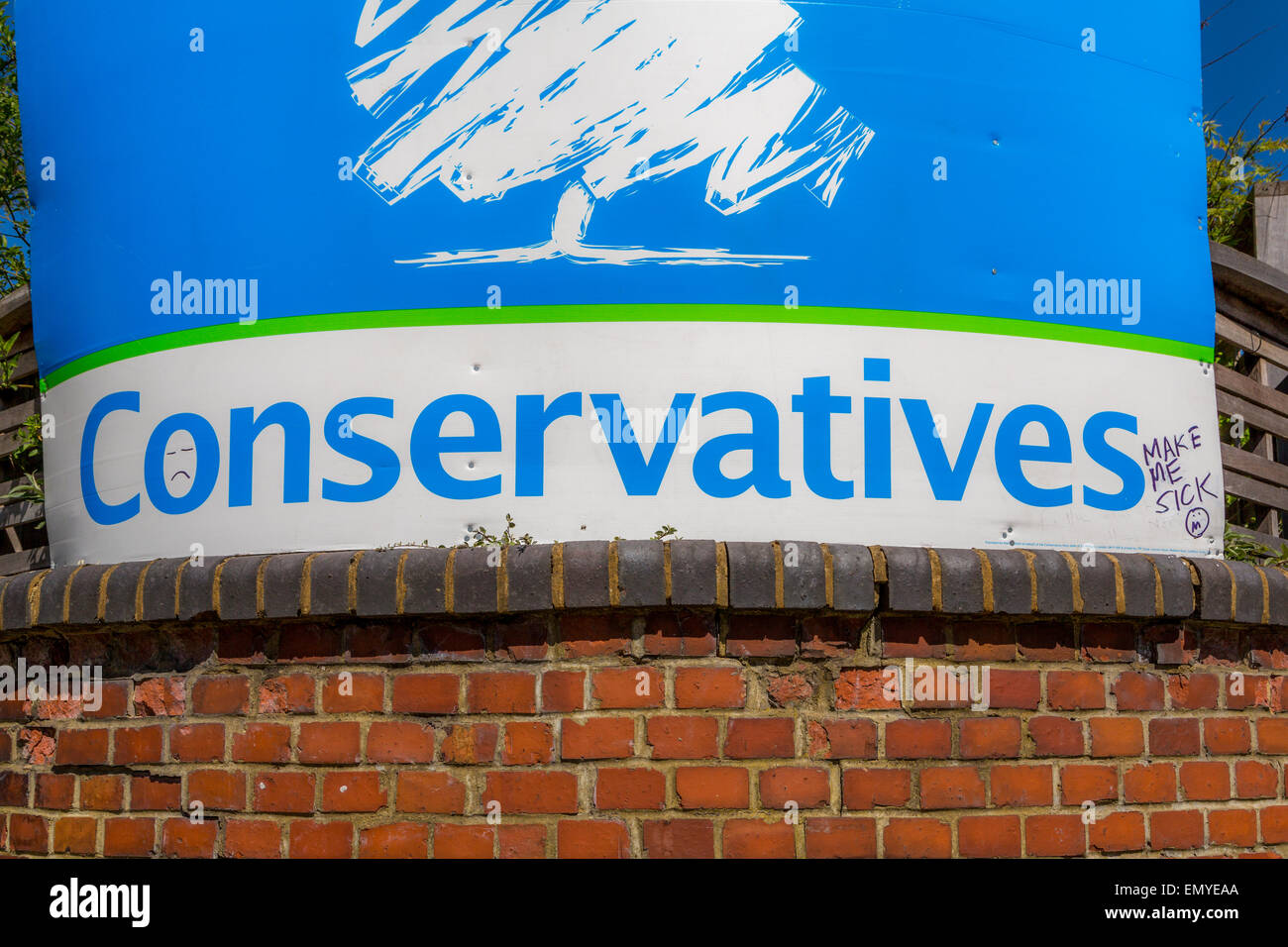 Defaced, Conservative General Election Campaign poster - Stock Image