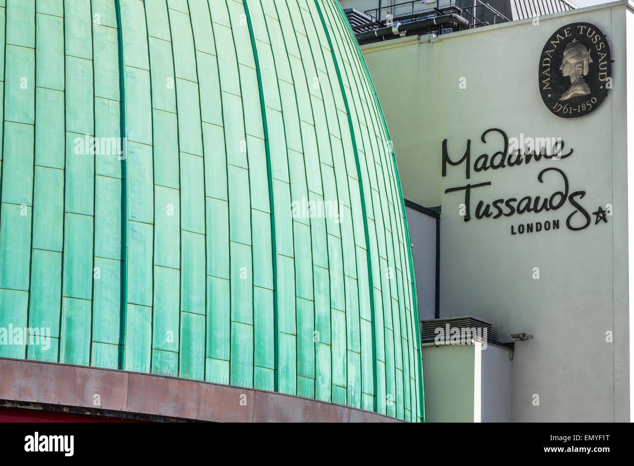 The Former Planetarium renamed The Star Dome next to the Madame Tussaud's branding - Stock Image