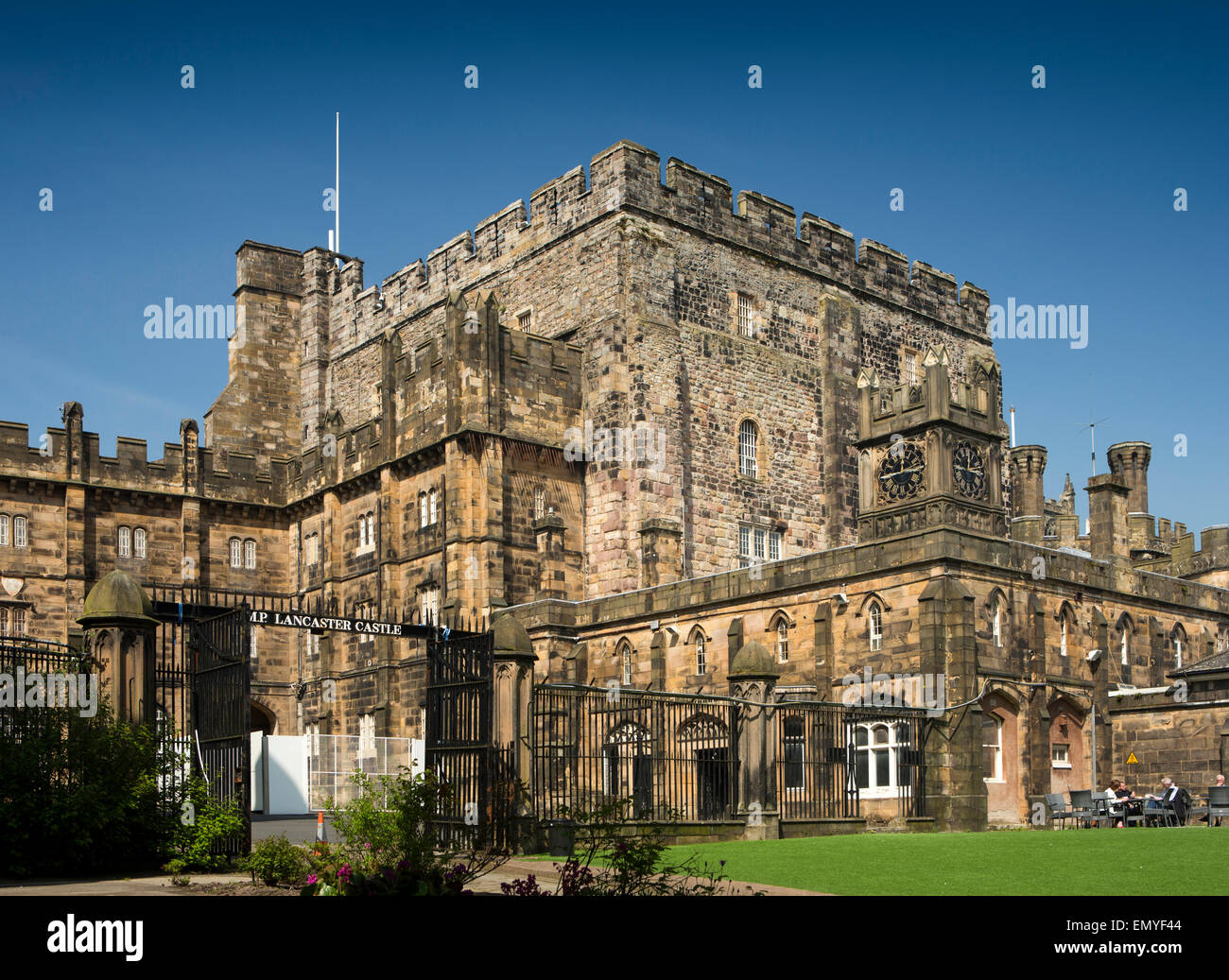 UK, England, Lancashire, Lancaster, Castle Park, Lancaster Castle, keep from inner courtyard - Stock Image