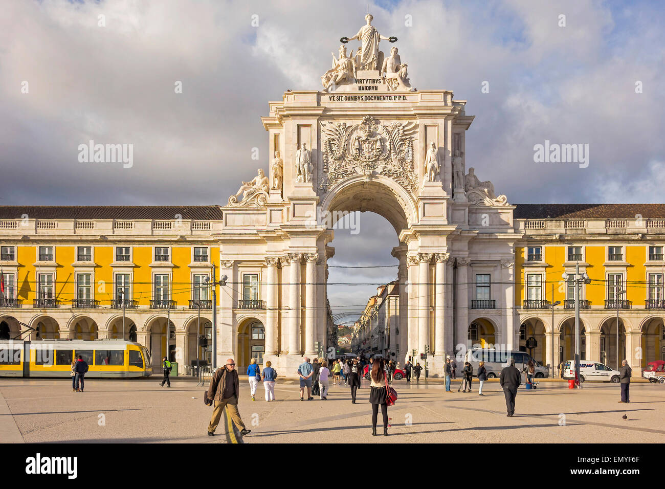 The Archway In Black Horse Square Lisbon Portugal - Stock Image