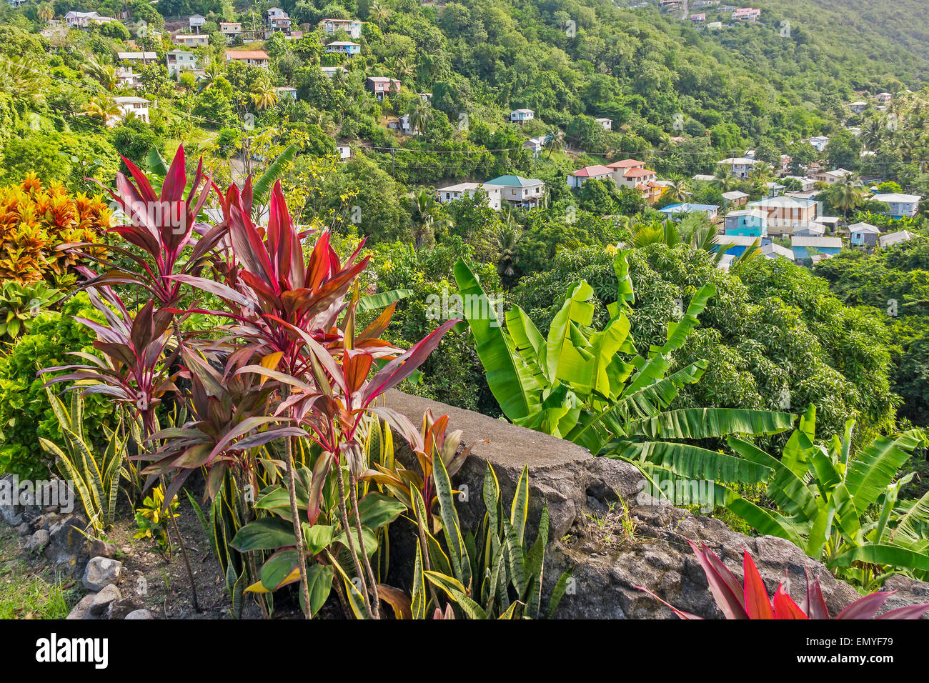 Colourful Viewing Point St. Lucia West Indies - Stock Image