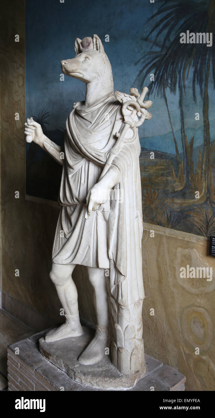 Roman Art. Statue of the god Hermanubis. Hybrid of Anubis and the Greek god Hermes.. Marble. 1st-2nd century AD. Stock Photo