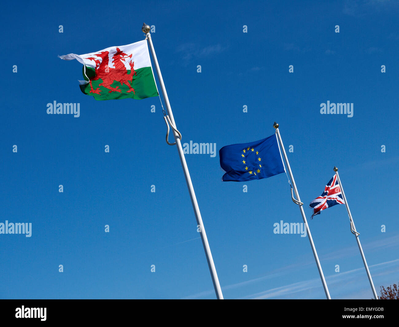 English, Welsch and European flags - Stock Image