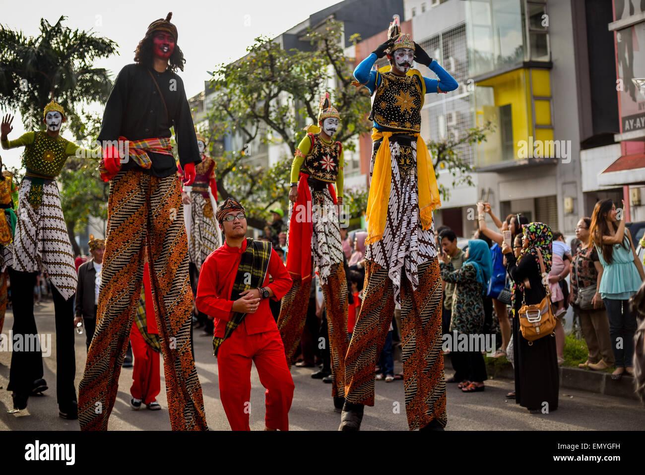 Giant Mahabharata (Sanskrit epic) characters in lantern festival in Bandung, Indonesia. - Stock Image