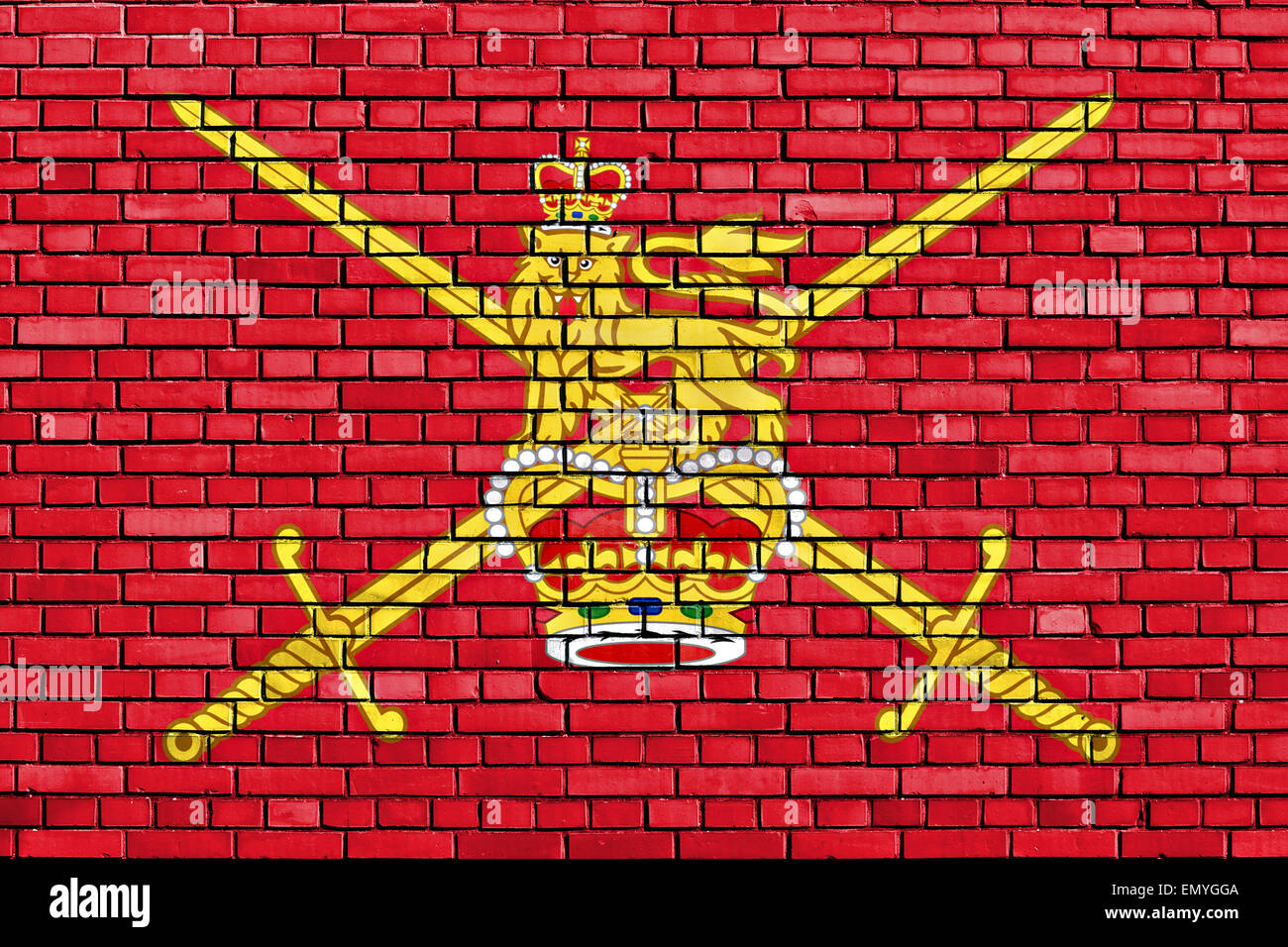 flag of British Army painted on brick wall - Stock Image