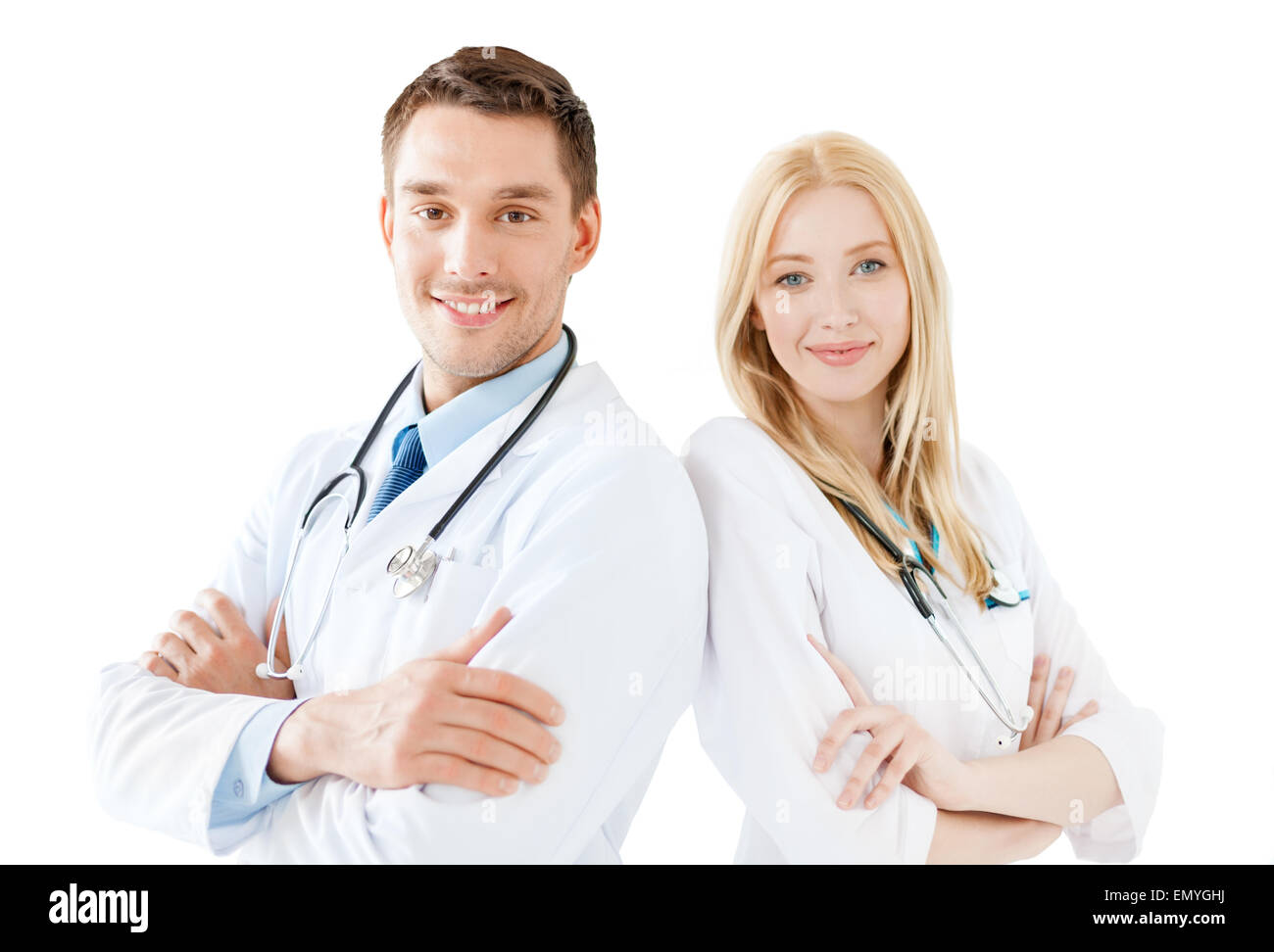 young male doctor and female nurse in hospital - Stock Image