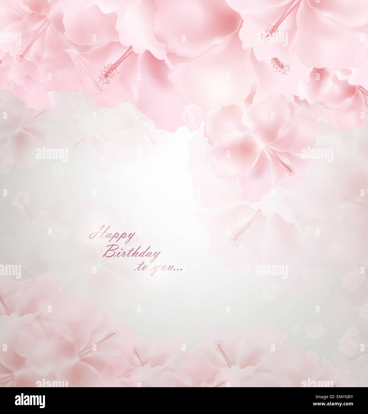 Pastel Floral Background With Happy Birthday Wishes Stock Photo