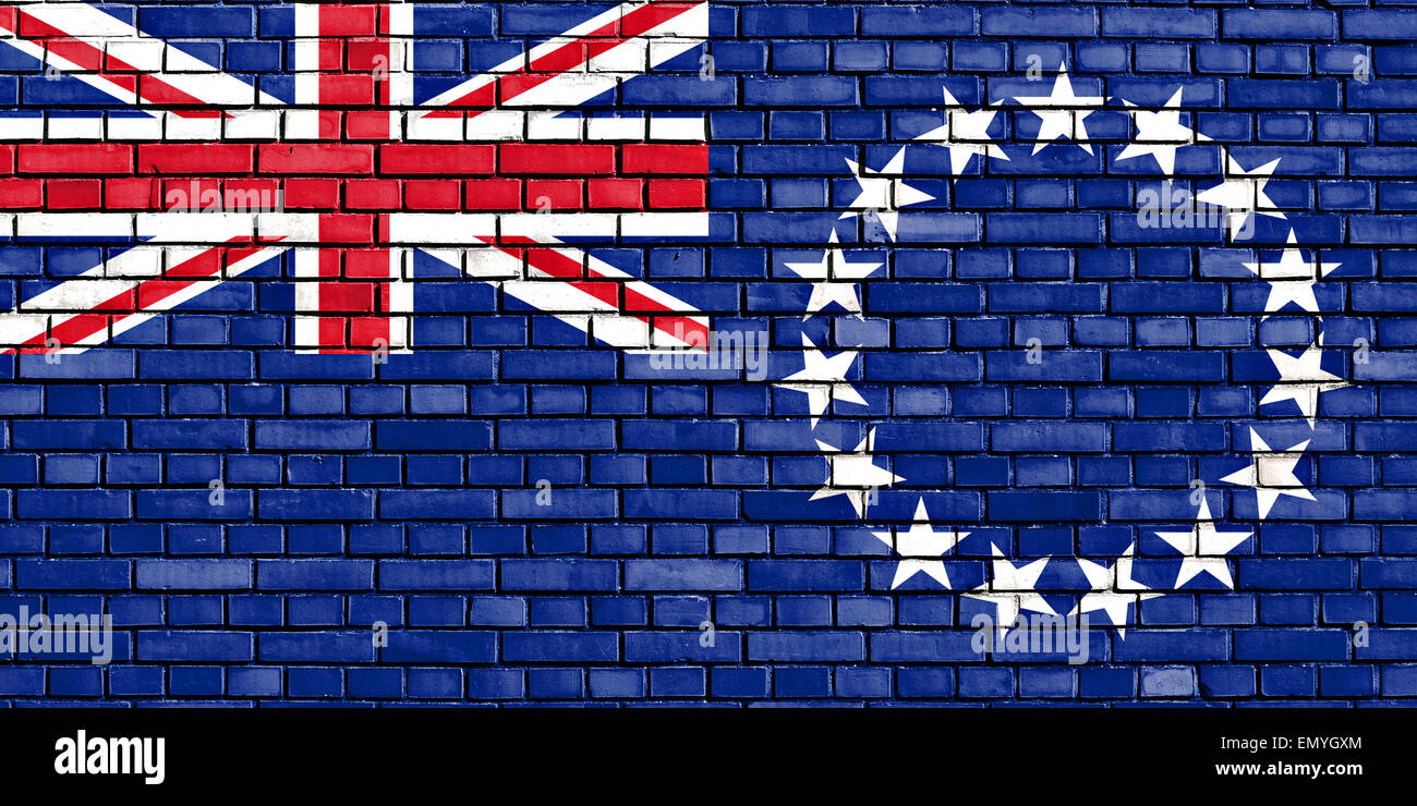 flag of Cook Islands painted on brick wall - Stock Image