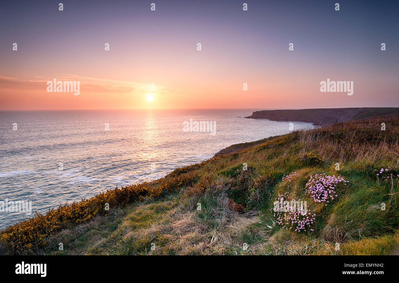 Sunset over the Cornwall coast on the South West Coast Path at Park Head near Porthcothan - Stock Image