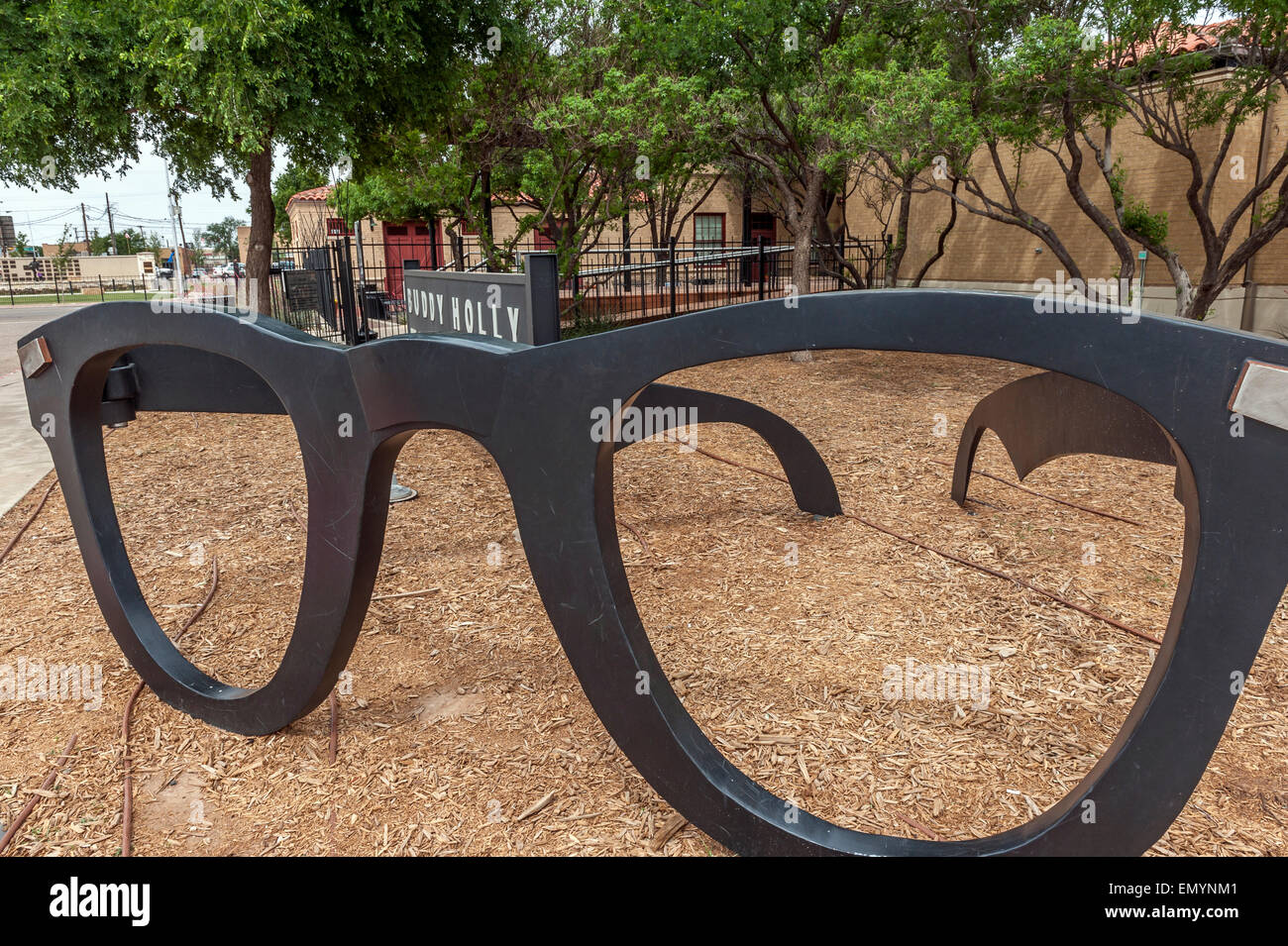 Giant sculptured pair of Buddy's trademark glasses that mark the entrance to the Buddy Holly Centre.  Lubbock. Texas. - Stock Image