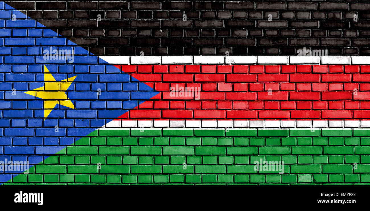 flag of South Sudan painted on brick wall - Stock Image