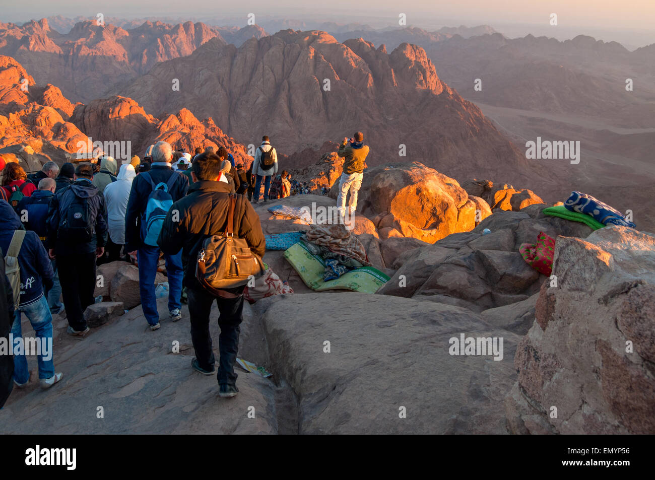 Pilgrims and tourists on the pathway from the Mount Sinai