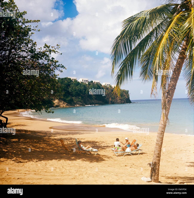Insel Lopud, St. Lucia, Hotelstrand La Toc - Stock Image