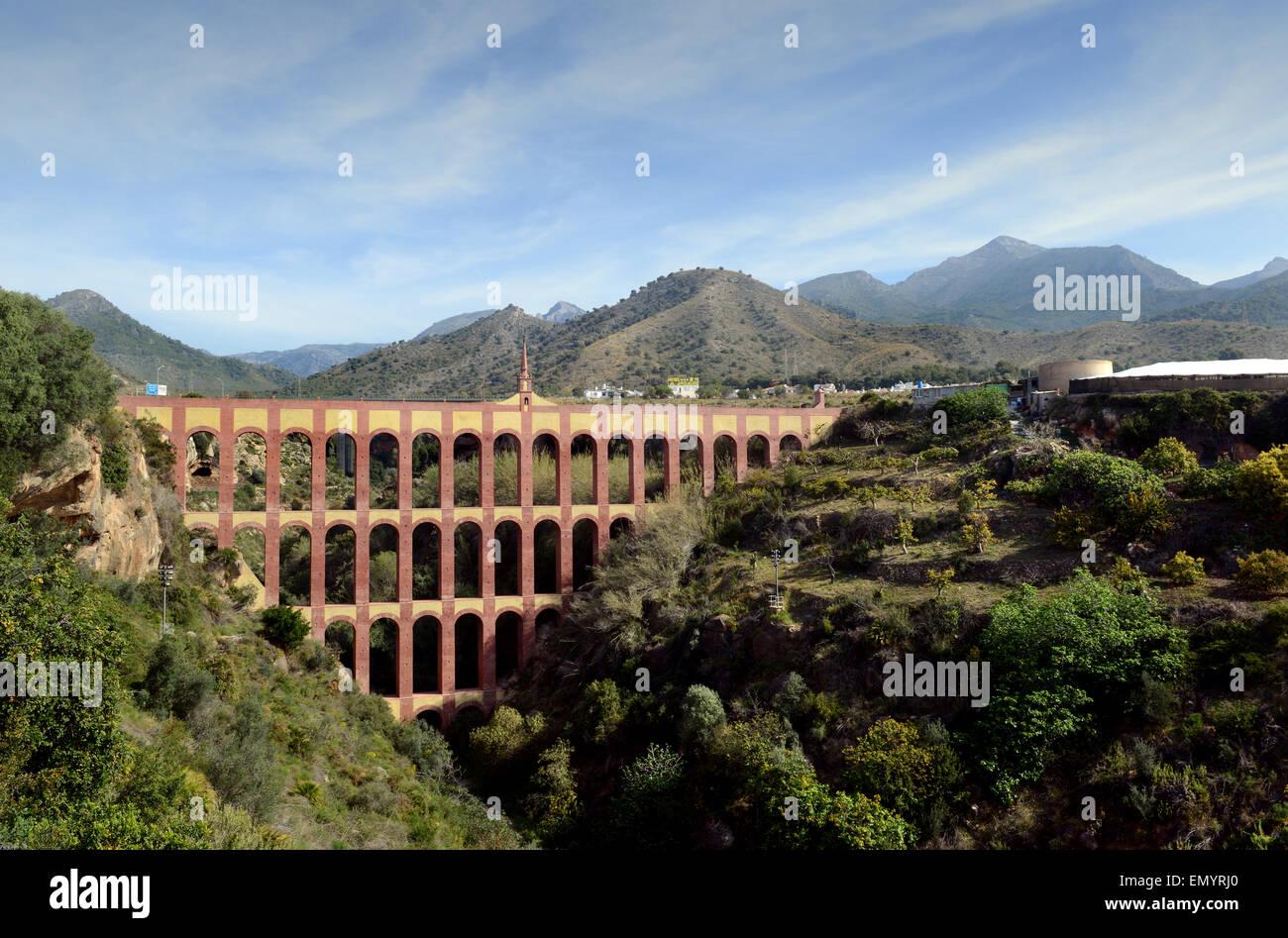Spanish 19th century aqueduct The Acueducto del Aguila (Eagle aqueduct) at Nerja, Spain. This aqueduct was built - Stock Image