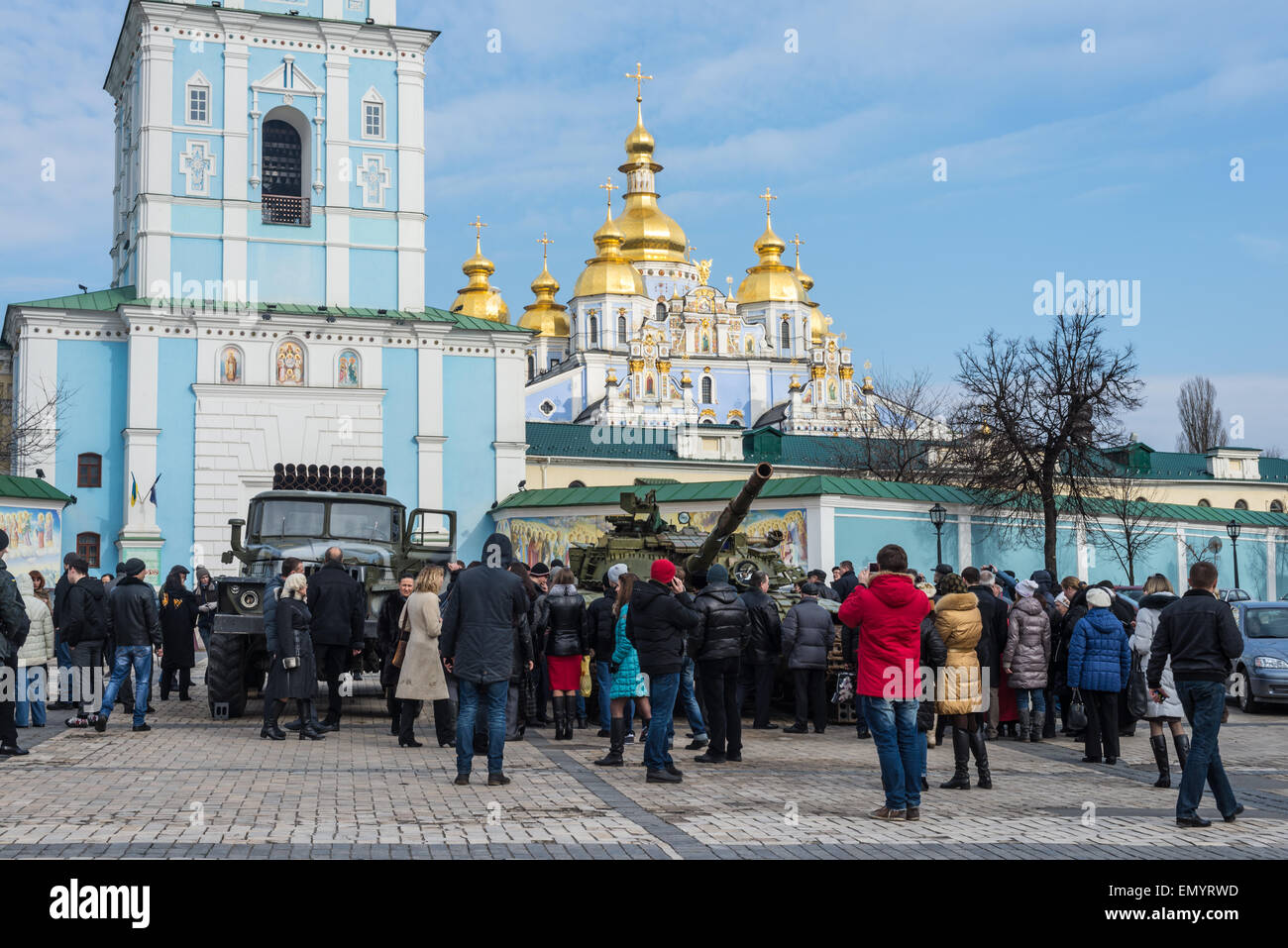 People visiting the documentary exhibition 'Presence. Evidence of the Russian Military Aggression on the territory - Stock Image