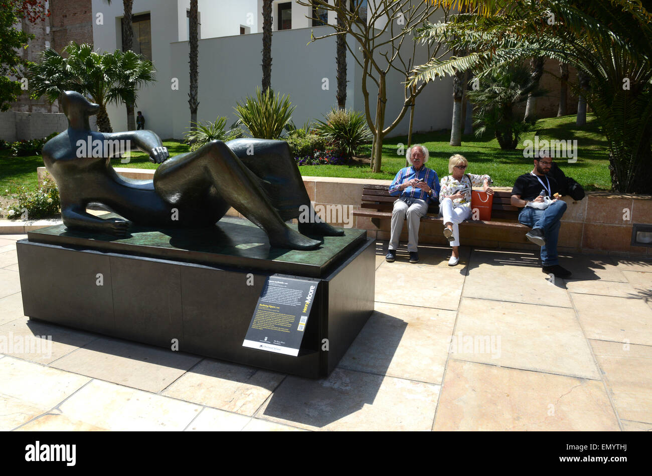 Henry Moore bronzes sculptures 'The Reclining Figure' in Malaga Spain - Stock Image