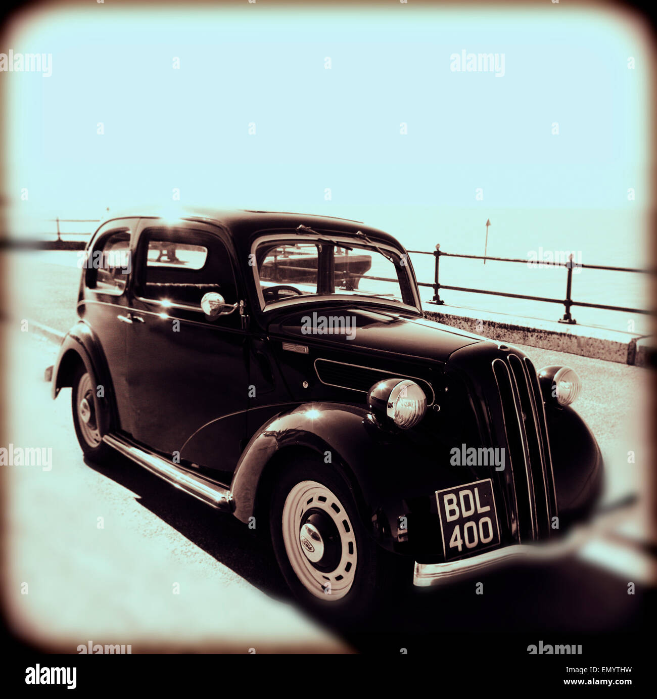 1930s Ford CX, Car, by the sea, Parade, Gurnard, Isle of Wight, England, UK, Stock Photo