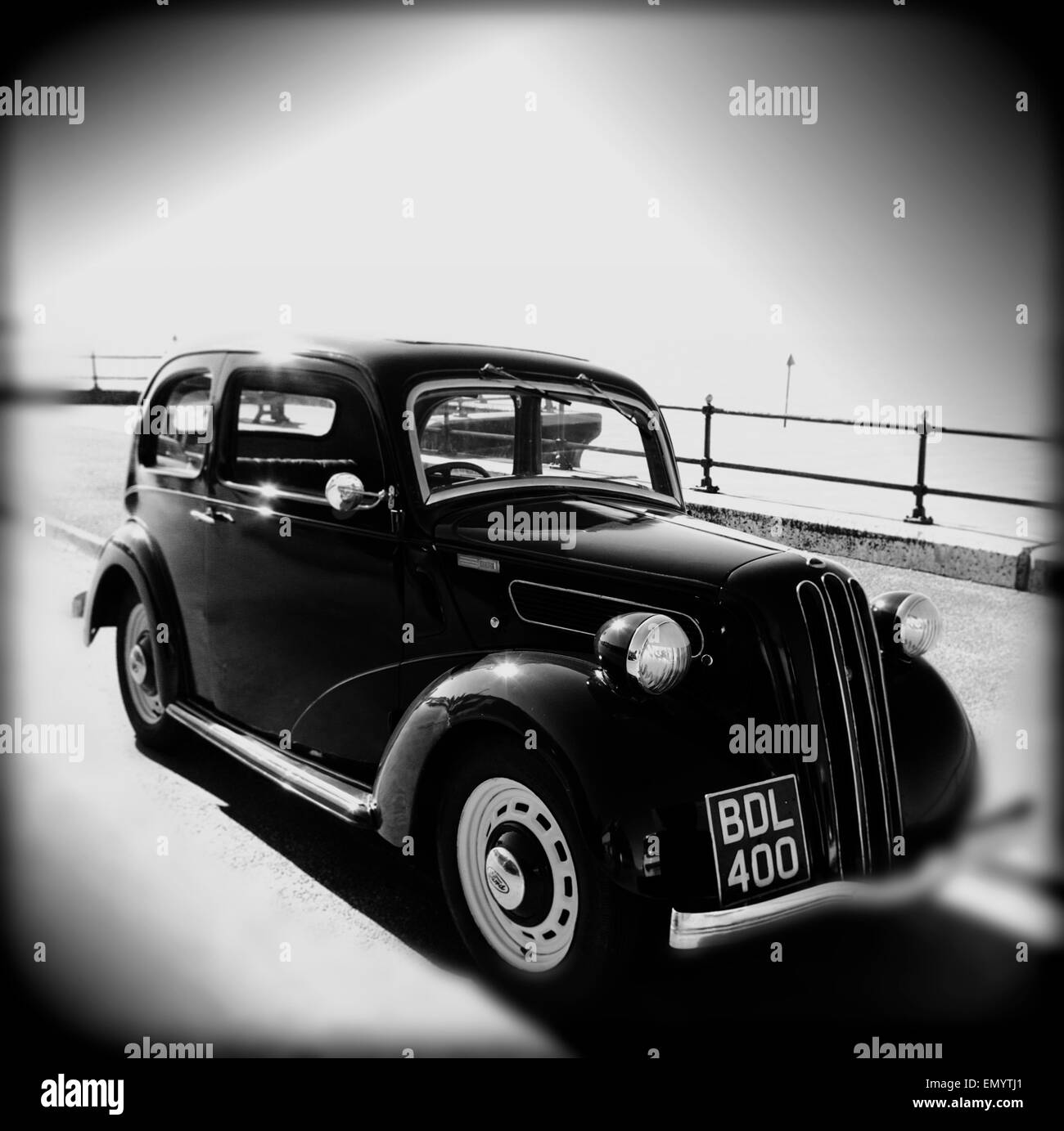 1930s Ford CX, Car, by the sea, Parade, Gurnard, Isle of Wight, England, UK, - Stock Image