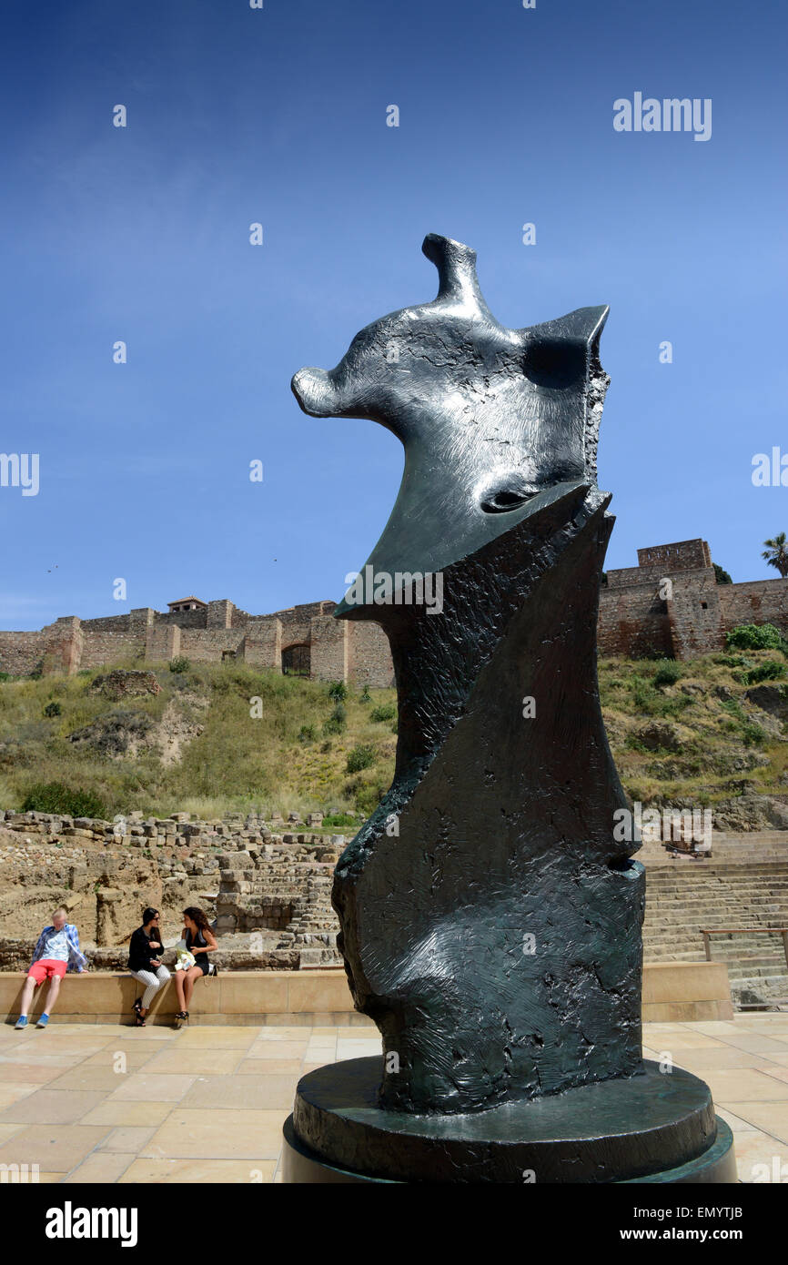 Henry Moore bronzes sculptures in Malaga Spain - Stock Image