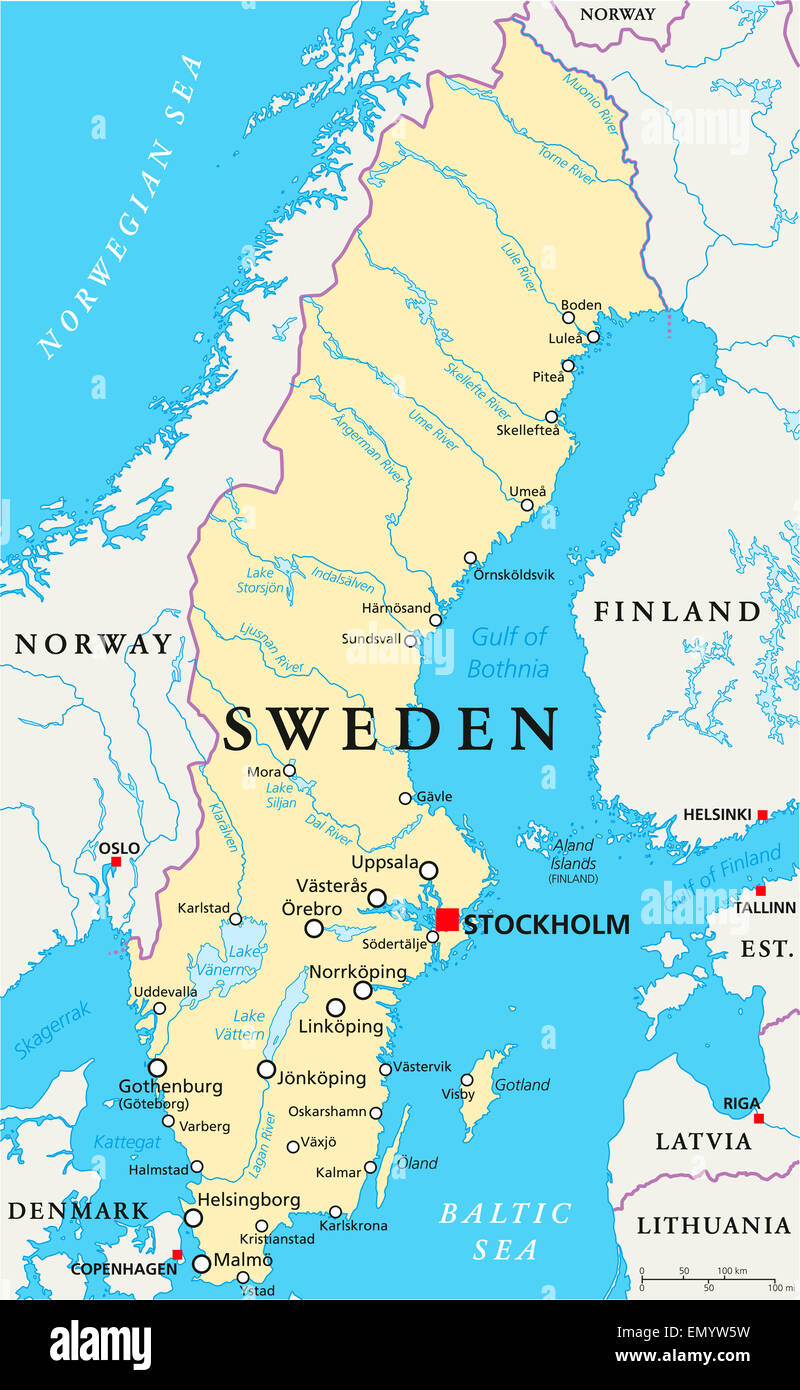 Sweden Political Map With Capital Stockholm National Borders Stock Photo Alamy