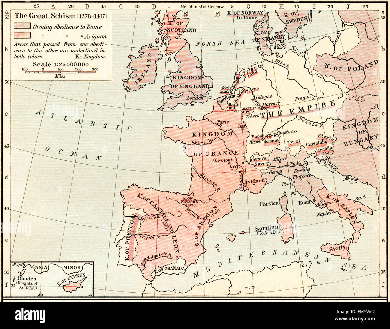 Map of The Western Schism, or Papal or Great Schism, 1378 - 1417, showing  allegiance of European countries.