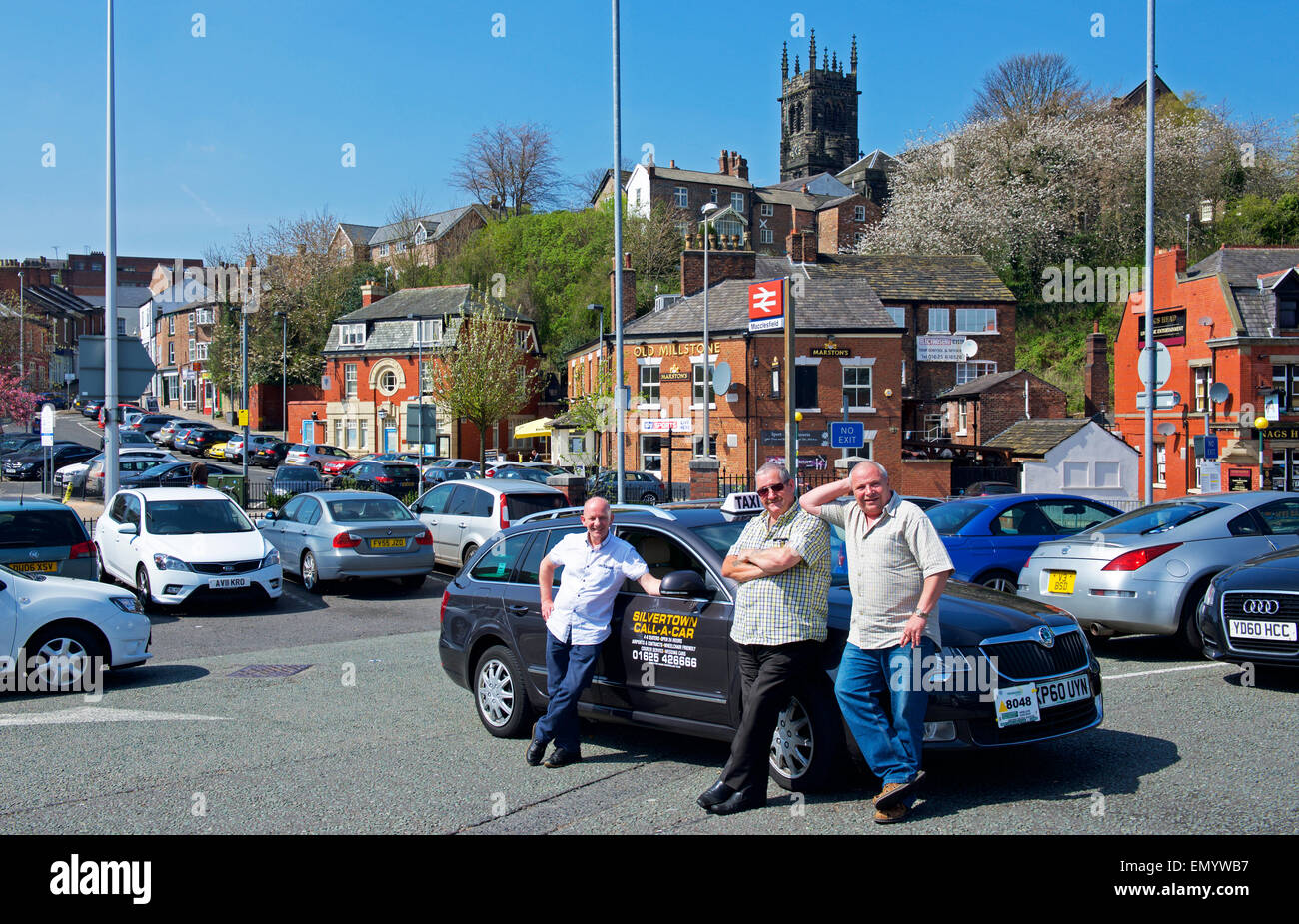 Taxy drivers in Macclesfield, Cheshire, England UK Stock Photo