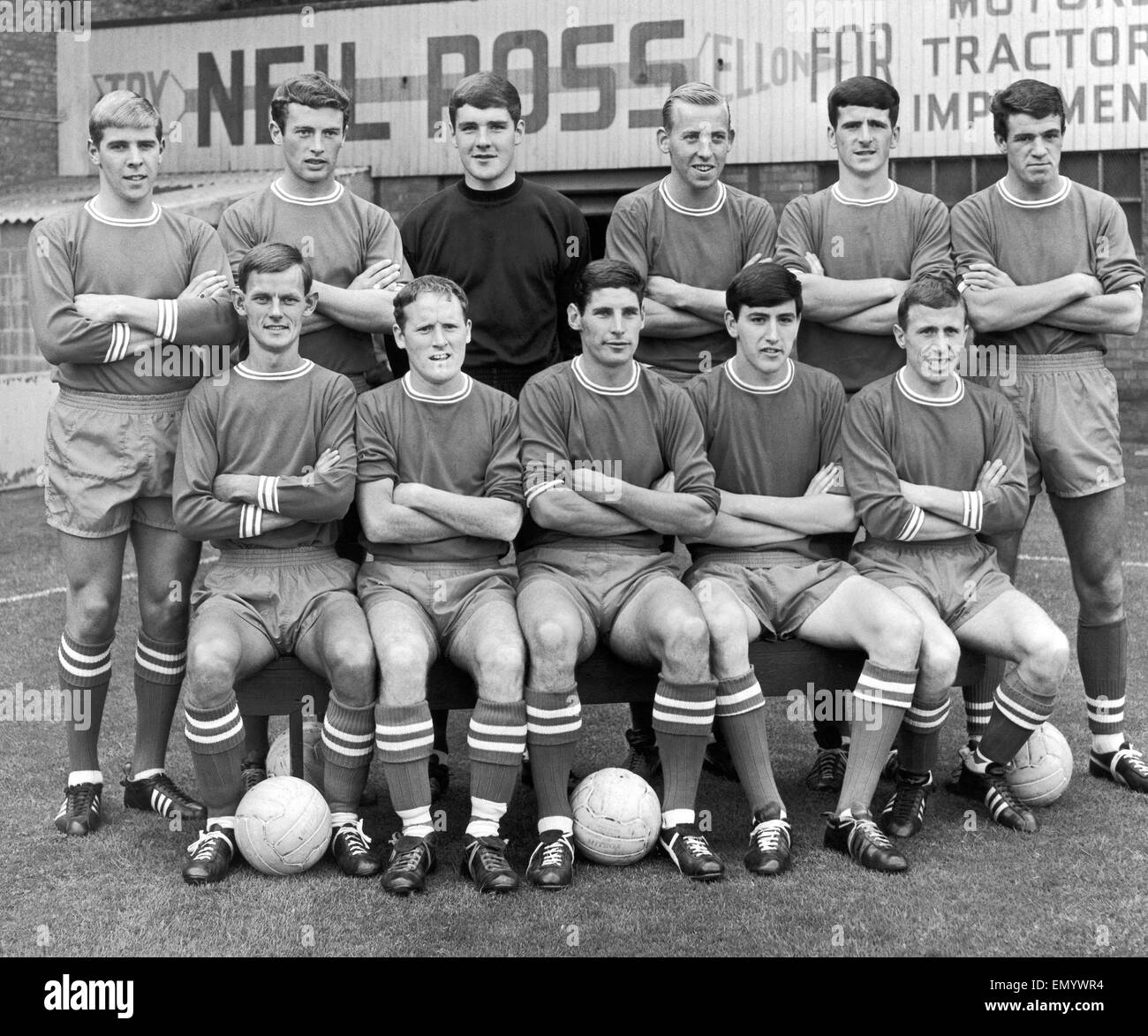Abderdeen FC pose for a pre season group photograph 1966 - 1967. They are back row left to right: Jimmy Whyte, McMillan, - Stock Image