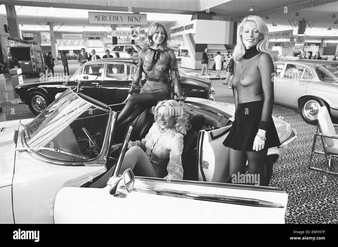 general scenes from the 1972 paris motor show 6th october 1972 stock