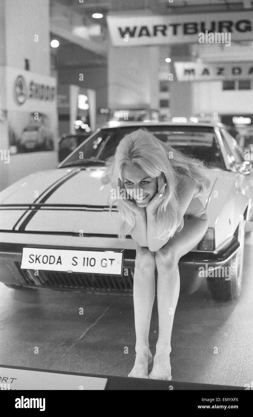 Binki clad model on the Skoda stand at the 1971 Earls Court motor show 19th October 1971 Stock Photo