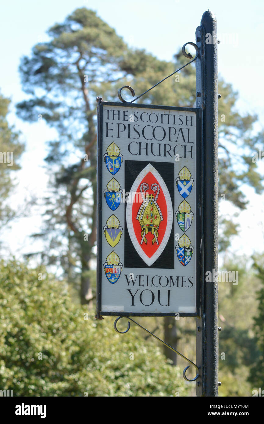 Scottish Episcopal Church sign outside St Modoc's Church in the village of Doune, Stirling, Scotland - Stock Image