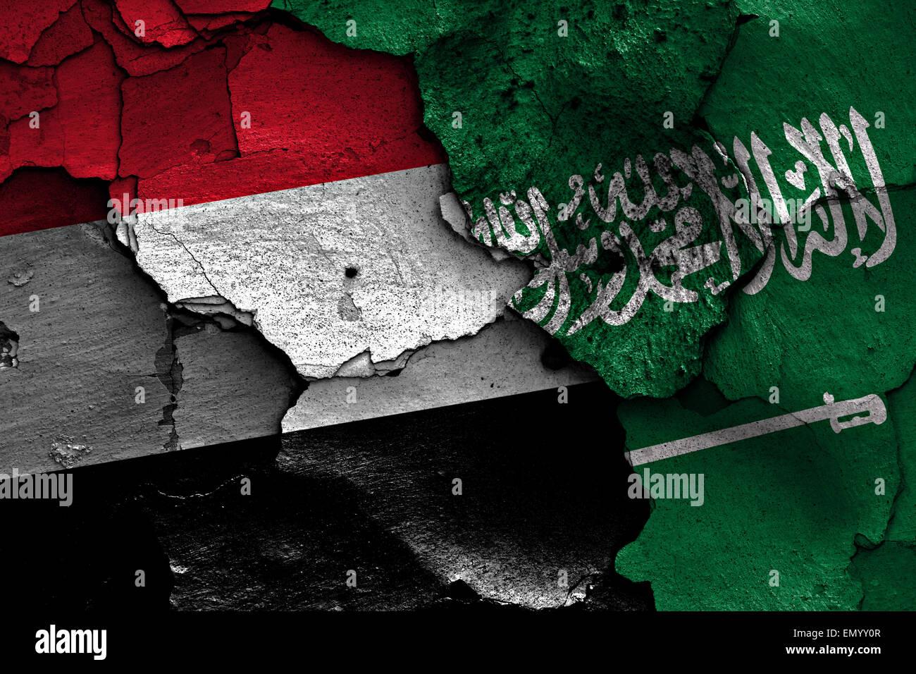 yemen saudi arabia conflict - Stock Image