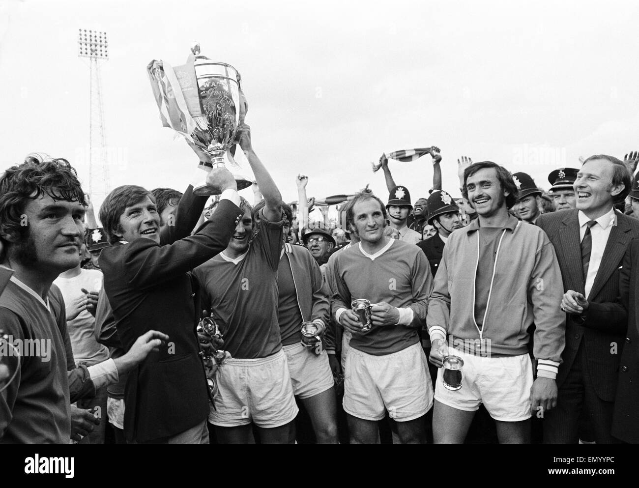 Watney Mann Cup match at the Eastville Stadium. Bristol Rovers v Sheffield United. The Bristol Rovers team celebrate - Stock Image