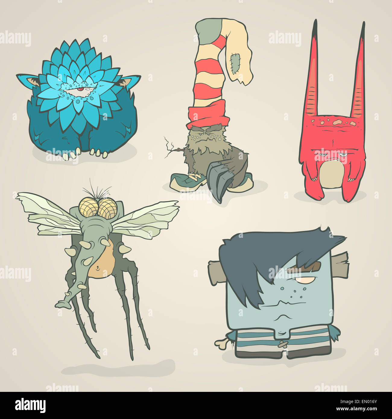 Vector Set Of Illustrations Cartoon Cute Monsters Or Aliens With