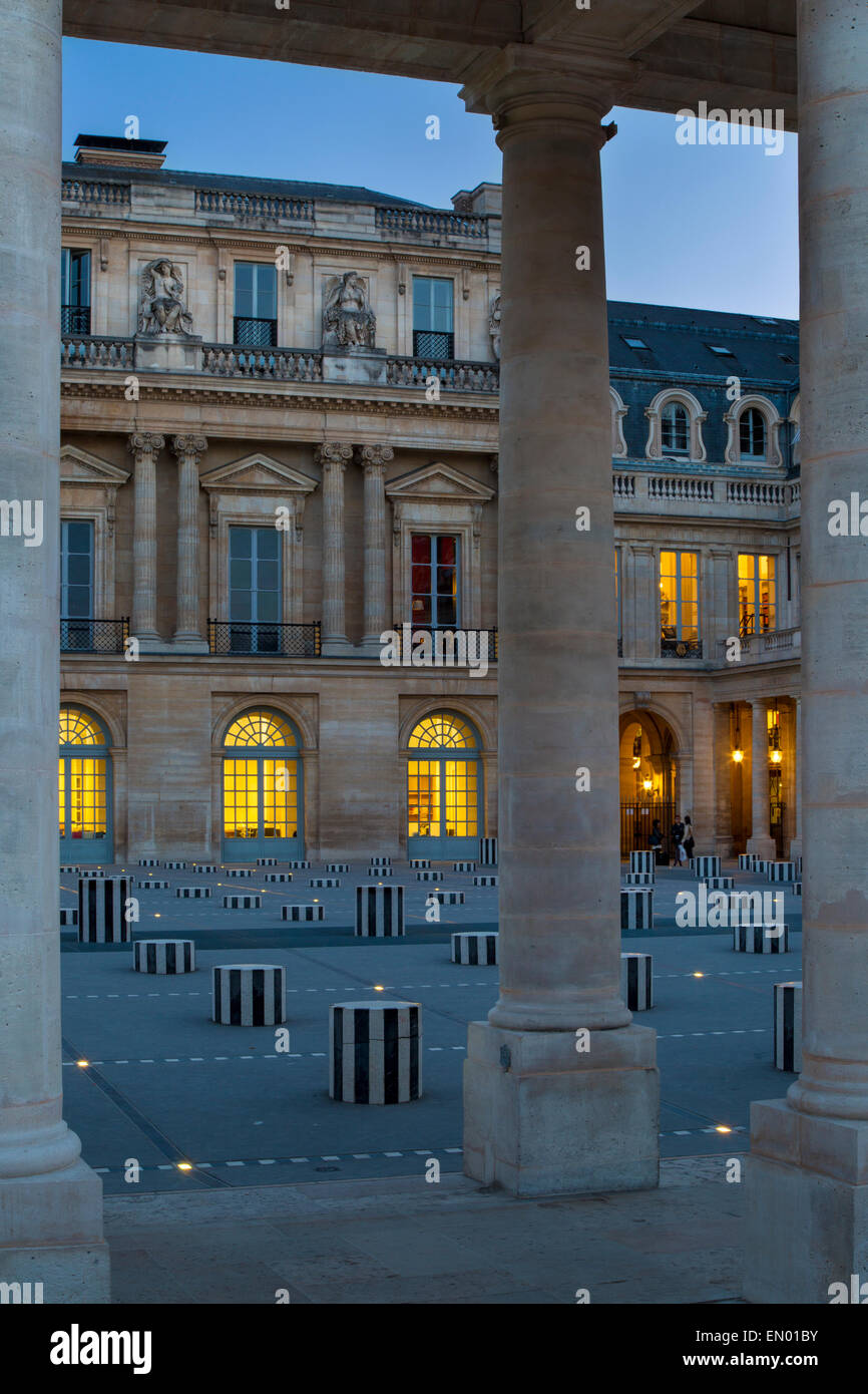 Twilight in the courtyard of Palais Royal, Paris, France - Stock Image