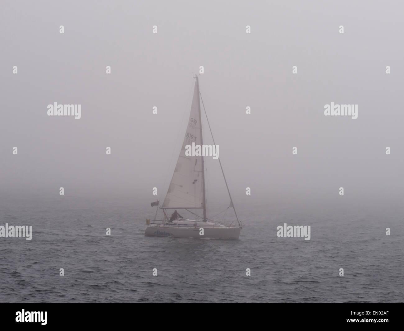 europe, uk, england, devon, Exe estuary fog - Stock Image