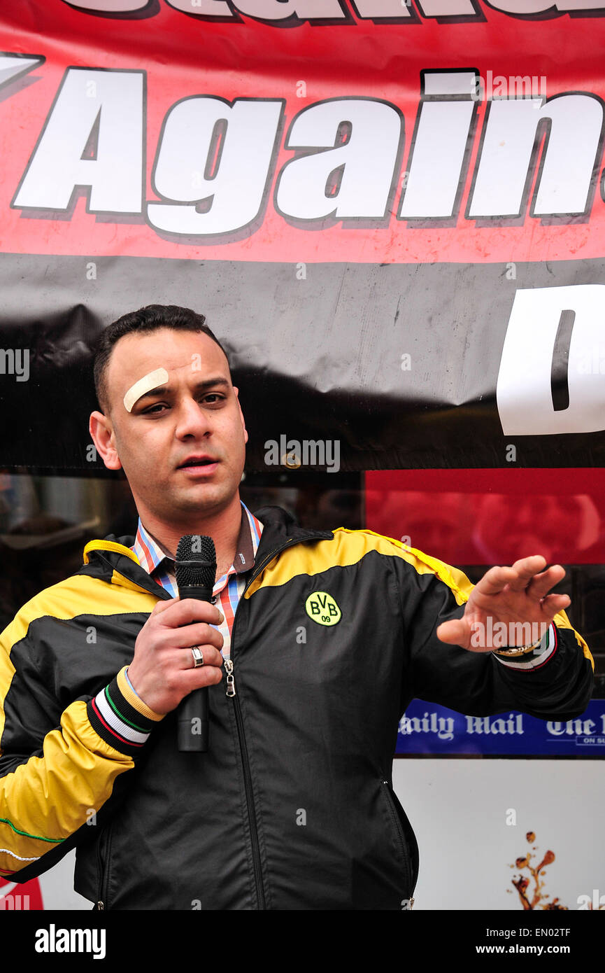 Rally against racist attack on shop worker, Londonderry, Northern Ireland - 24 April 2014. The Egyptian shop worker,Tharwat - Stock Image