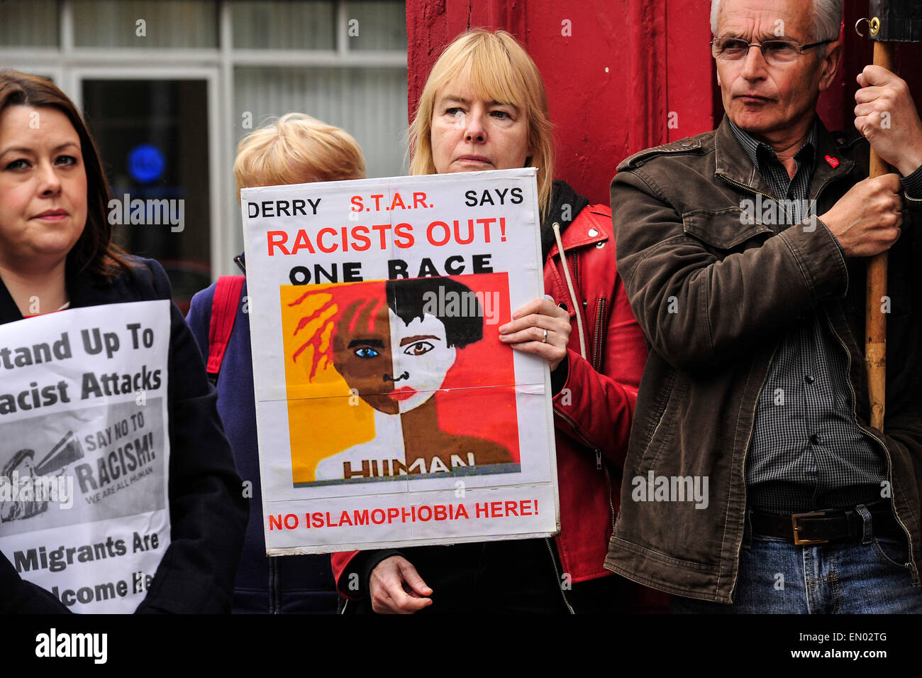 Londonderry, Northern Ireland. 24th April, 2015. Rally against racist attack on shop worker, Londonderry, Northern - Stock Image