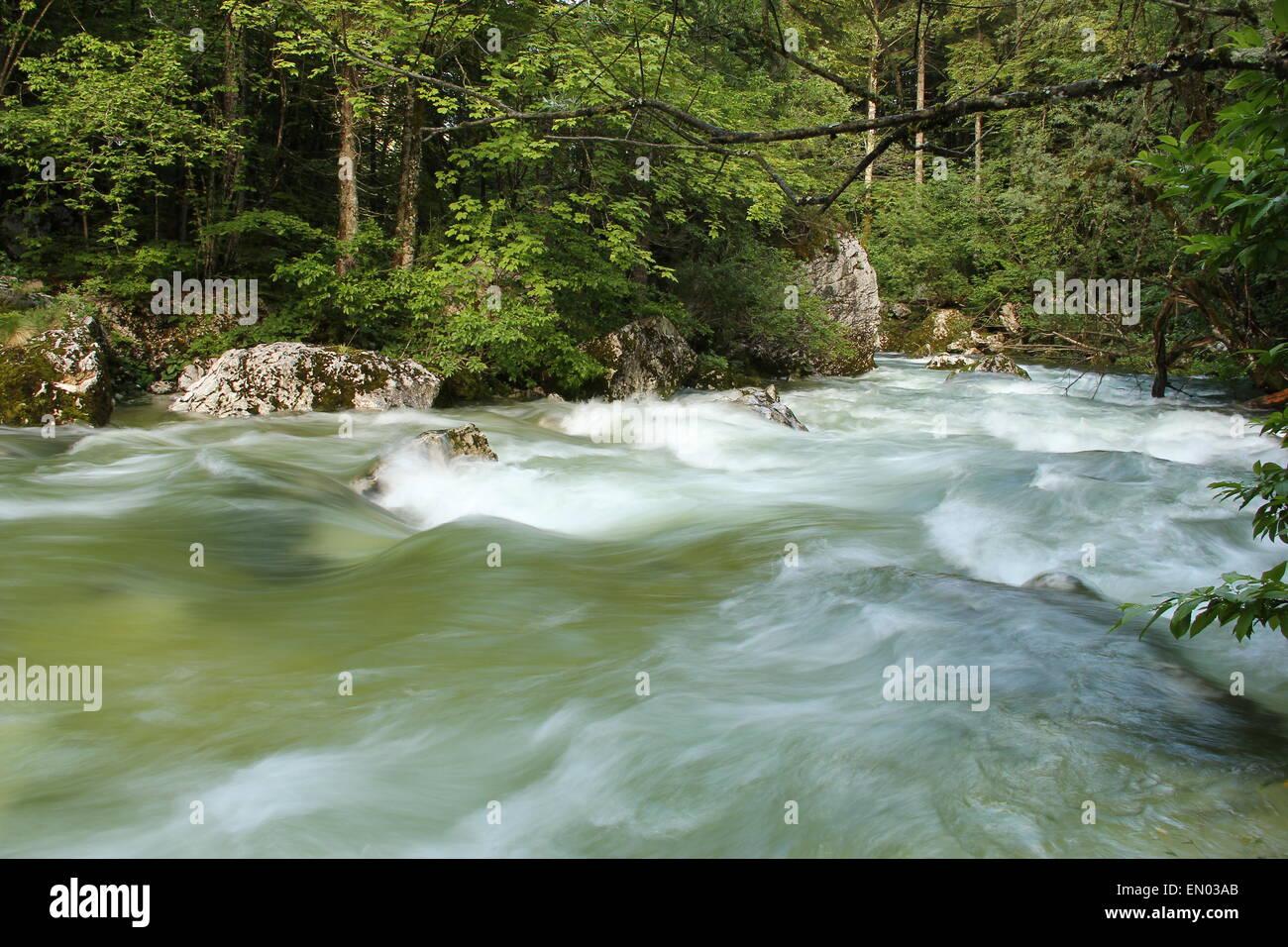 silky water near Bohinj Stock Photo