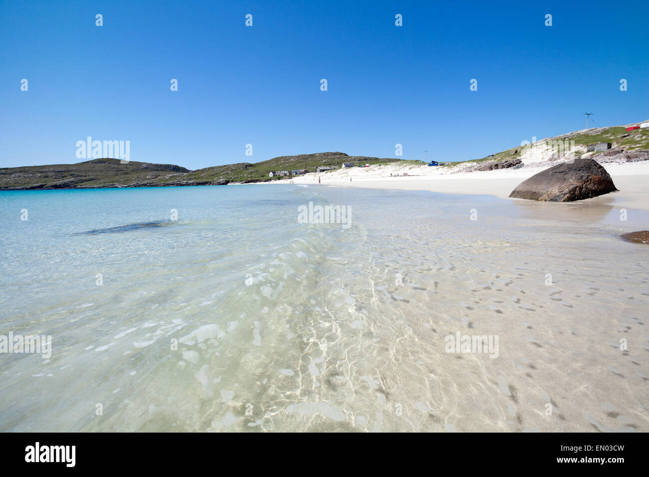 Isle of Harris, white sandy beach and crystal clear water - Stock Image