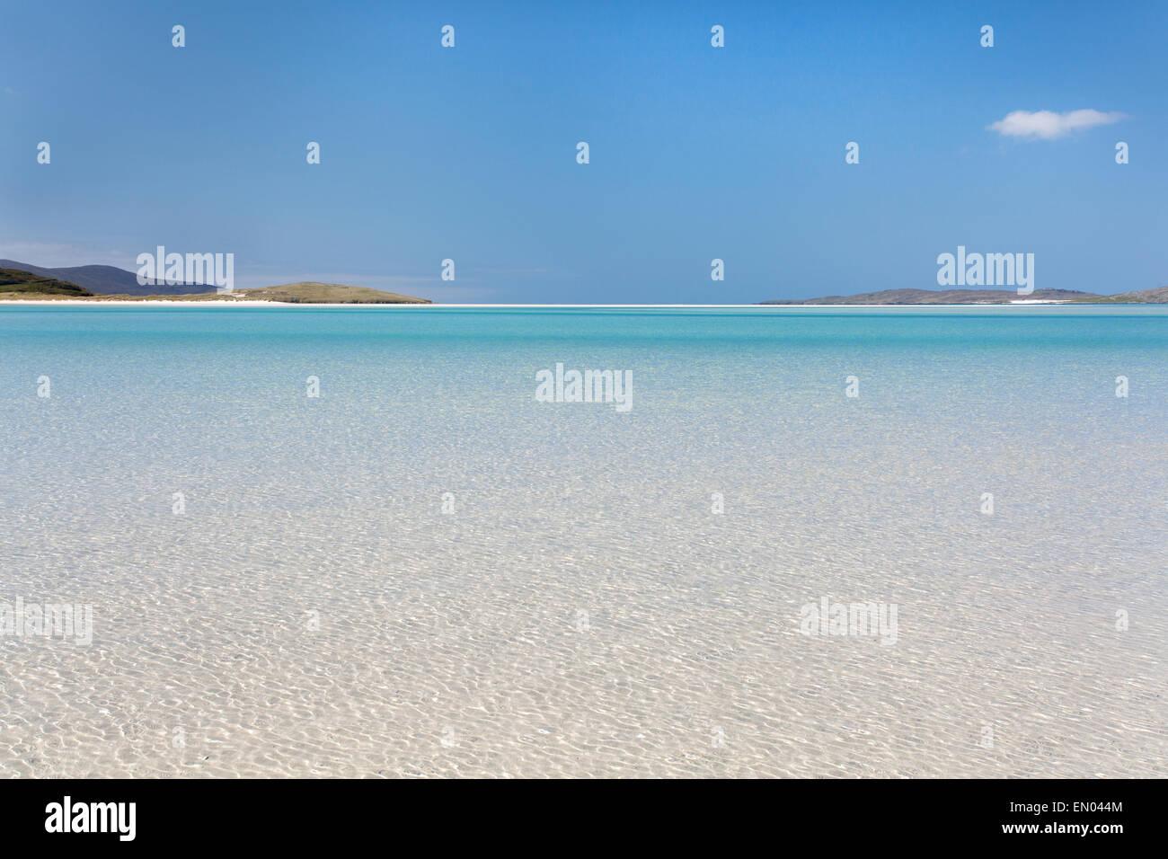 Clear sea water at Luskentyre beach, Isle of Harris, Scotland - Stock Image