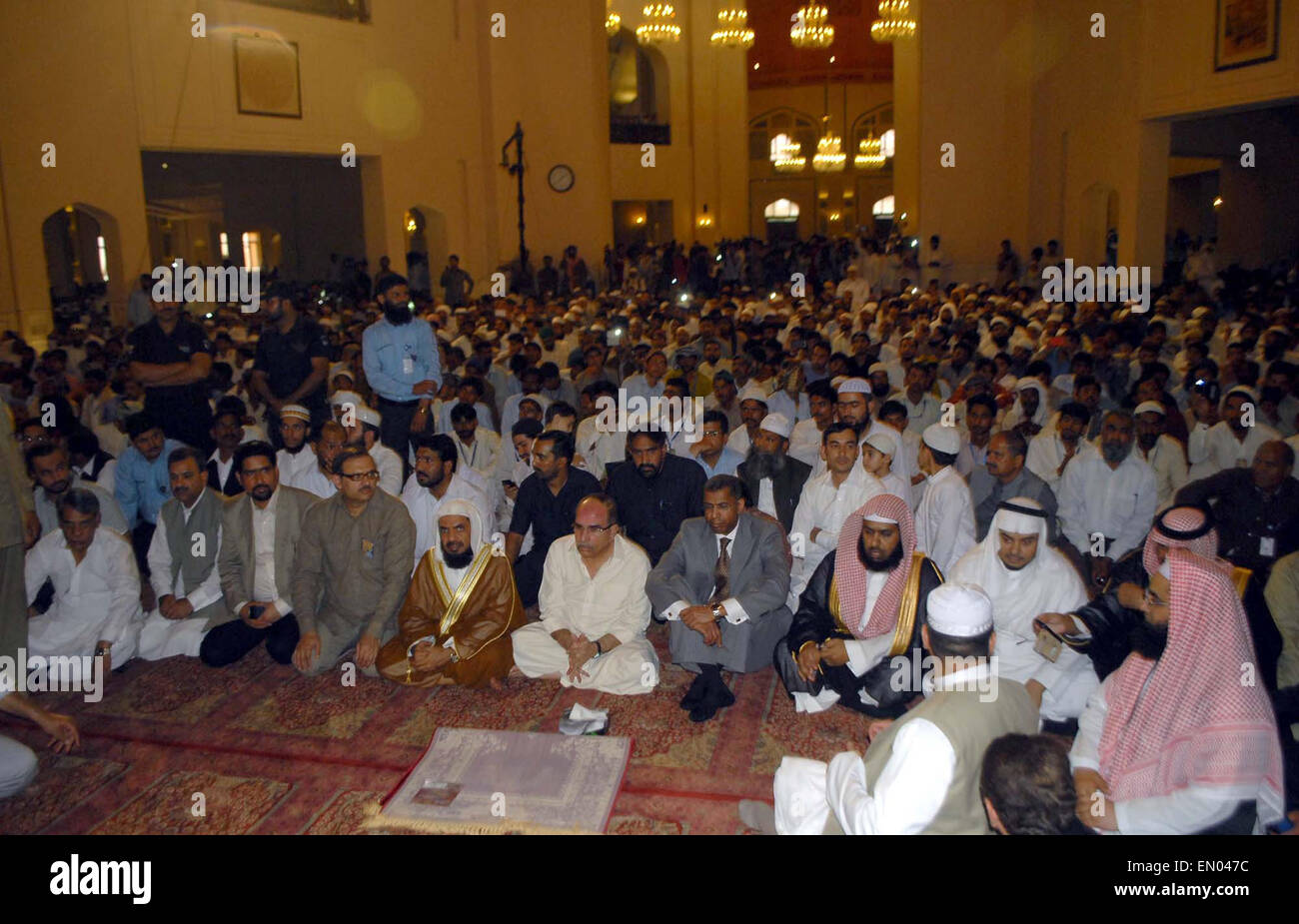 Large numbers of Muslims are listening sermon deliver by